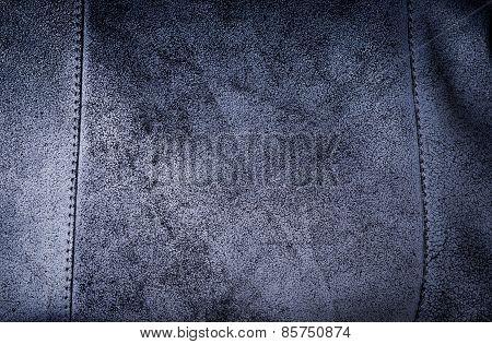 Dark Blue Suede Rough Texture Of Woman Bag