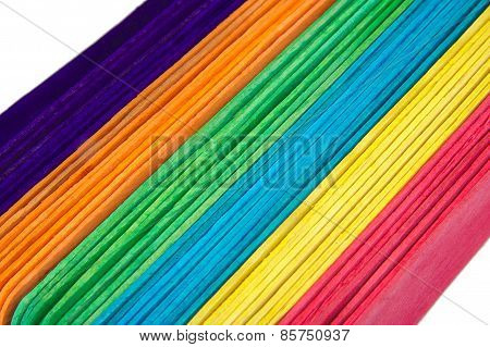 Set of holiday craft sticks isolated on a white background. Colourful depressors