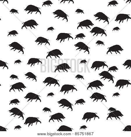 wild boar or warthog seamless pattern in black and white color Vector illustration