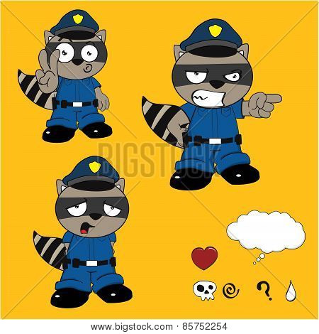 sad raccoon policeman cartoon set