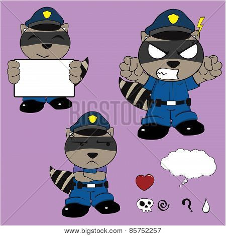 angry raccoon policeman cartoon set