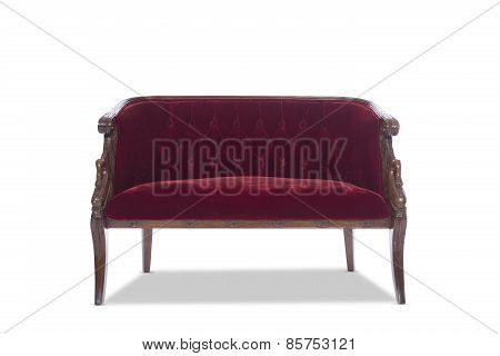 Deep Red Antique Vintage Sofa