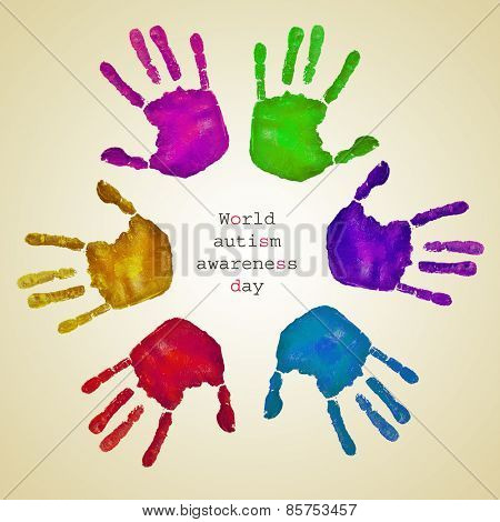 some handprints of different colors forming a circle on a beige background and the text world autism awareness day written inside