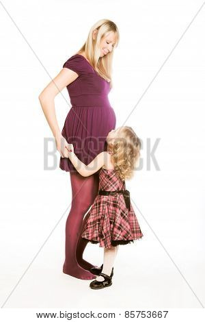 pregnant woman with daughter
