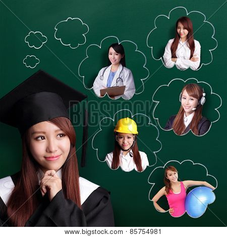 Graduate Student Woman Think Future--0999000000000000000000