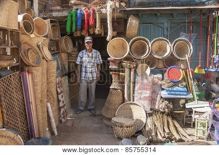 Man Selling Baskets