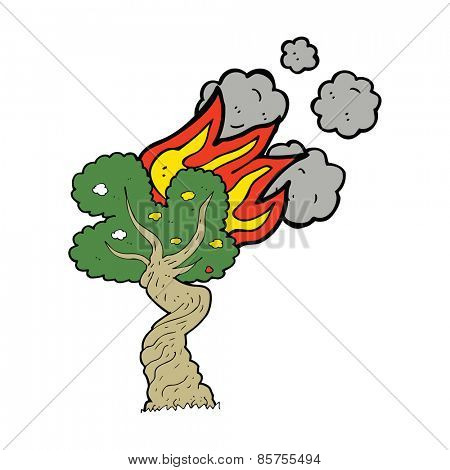 cartoon burning tree
