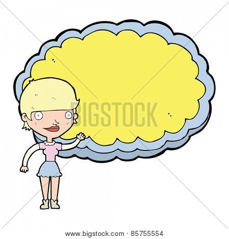 cartoon woman presenting cloud with space for text