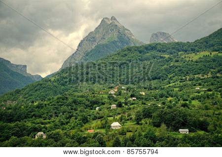 peak of Moraca mountain above montenegrin rural area