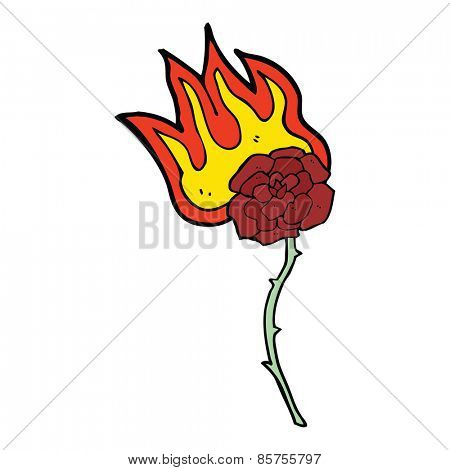 cartoon burning rose