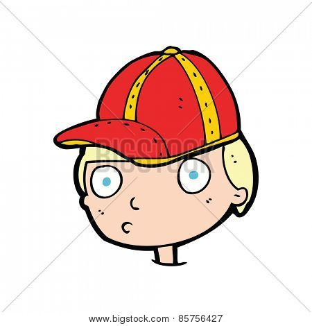 cartoon curious boy wearing cap