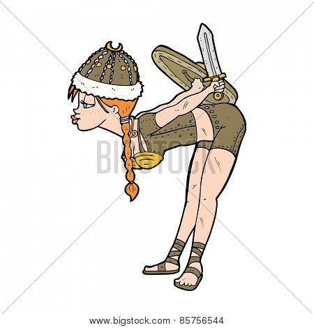 cartoon barbarian viking girl
