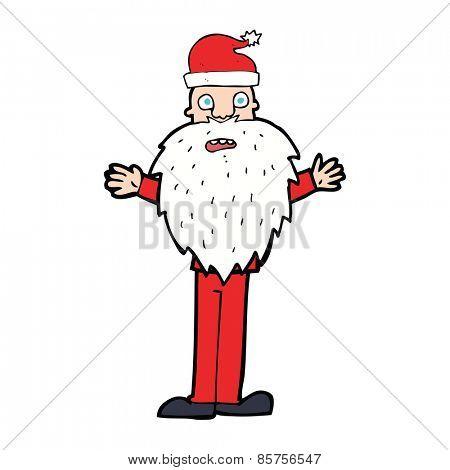 cartoon worried santa claus