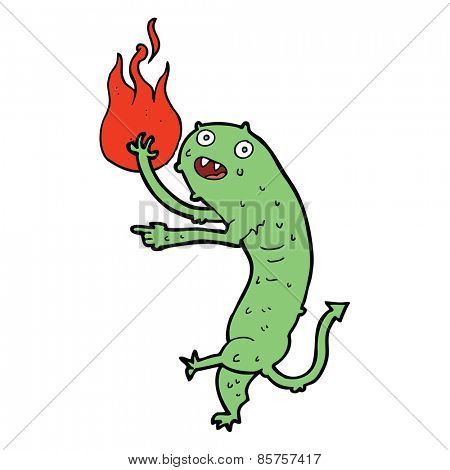 cartoon little imp with fire