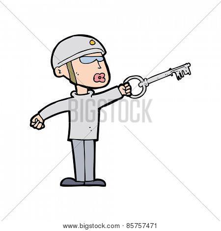 cartoon security guy with key