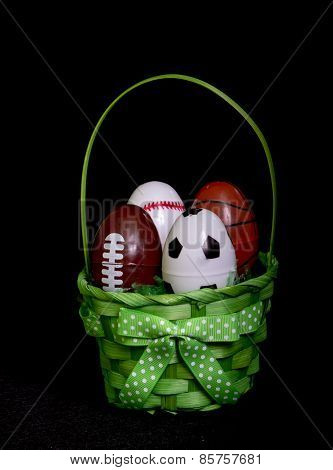 Green Easter Egg Basket With Eggs