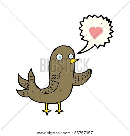 cartoon bird with love heart singing