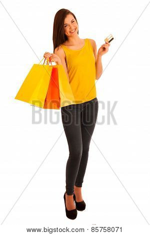 Portrait Of Young Happy Smiling Woman With Shopping Bags, Isolated Over White Background - Consumer