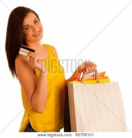 Portrait Of Young Happy Smiling Woman With Shopping Bags, Isolated Over White Background - Consumeri