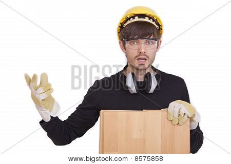 Frustrated Manual Worker With Laminate
