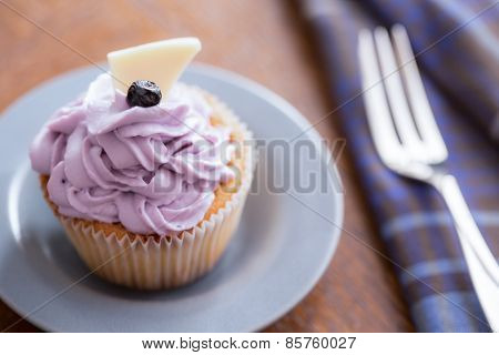Blueberry Cupcake With Mascarpone Cream