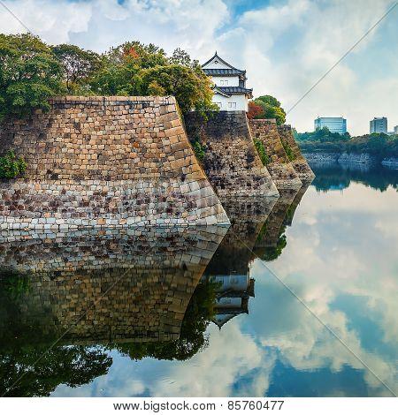 Moat of Osaka Castle in Osaka Japan