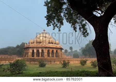 Isa Khan Niyazi Tomb Surrounded By Garden At Humayun's Tomb Complex, Delhi, India