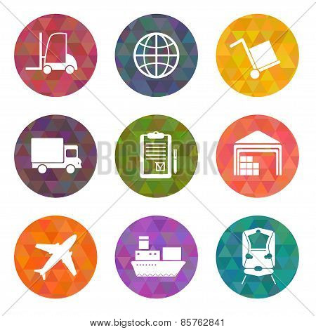 Warehouse Transportation And Delivery Icons Flat Set On Triangle Backgrounds