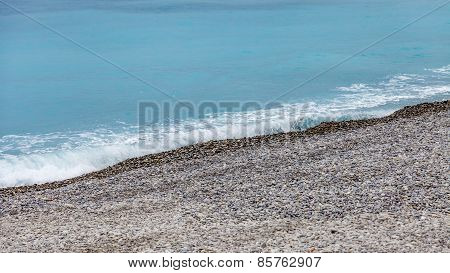 view of a beach on the bank of the Mediterranean Sea.