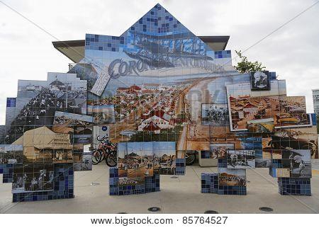 Public art mosaic shows Coronado s Tent City history at Glorietta Bay Marina.