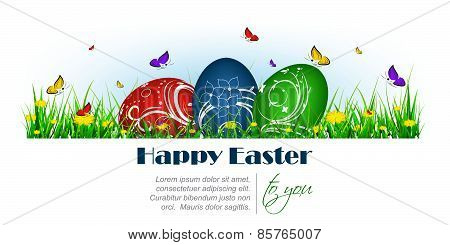 Happy easter banner with painted eggs, butterflies and dandelion
