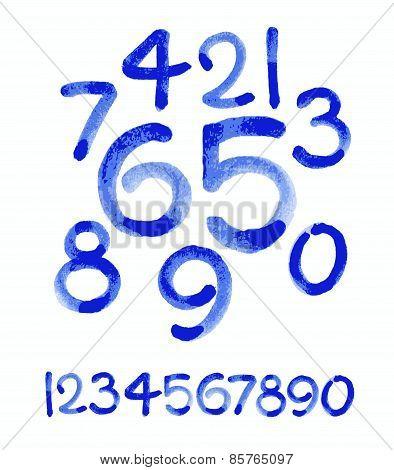 Watercolor hand written blue numbers. Vector watercolor.