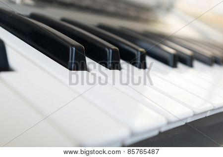 closeup shot of piano