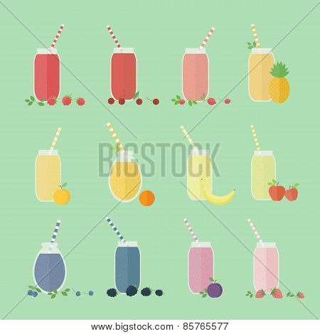 Set Of Fruits And Berries Coctails