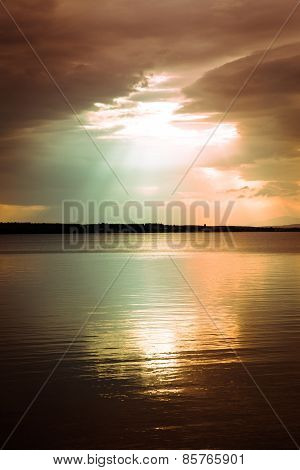 Tranquil Scene Over Lake With Beautiful Sky Above