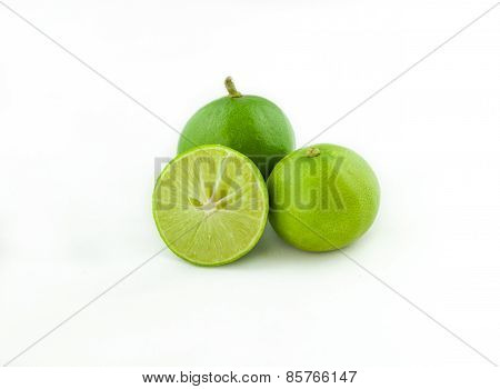 Fresh Green Lemon  Isolated On White Background