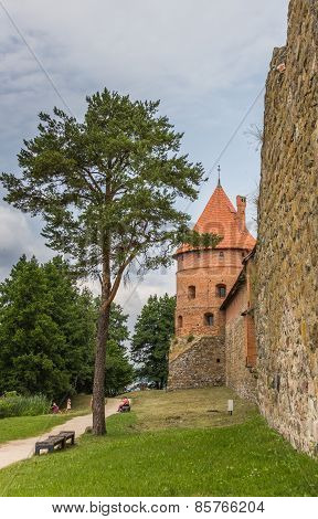 Tower And Wall Of The Trakai Red Brick Castle