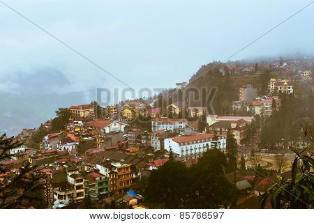 View Of Sapa City In The Mist, Sapa, Lao Cai, Vietnam