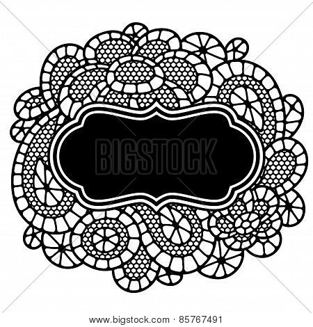 Vintage fashion lace frame with abstract flowers