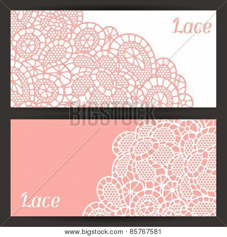 Vintage fashion lace banners with abstract flowers