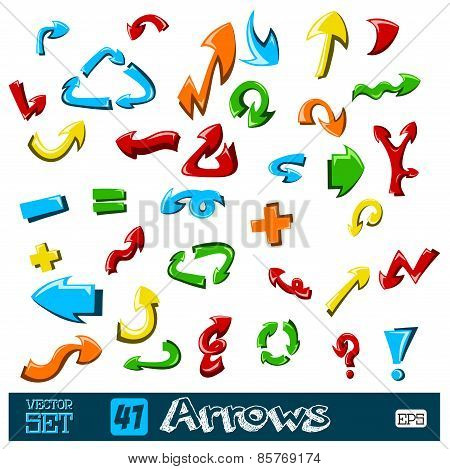 set of multicolored universal arrows on a background. vector