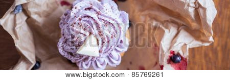 Blueberry Cupcake In Brown Paper