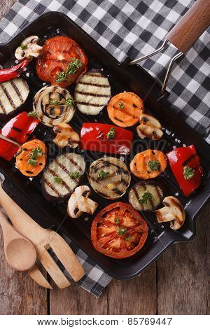 Grilled Peppers, Tomatoes, Onions, Eggplant Vertical Top View