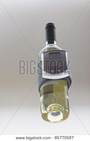 White Wine Bottle With Blood Pressure Analizing Device