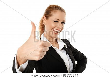 Successful Businesswoman Approval Sign
