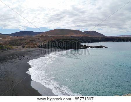 A black sand beach