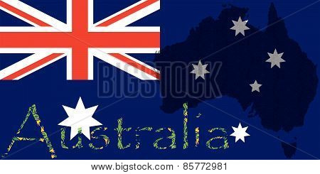 Flag of Australia with Map