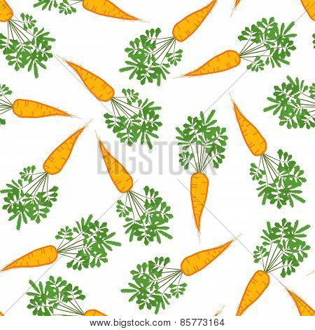 Seamless carrot texture. Endless vegetable background. Vector. Harvest ornament.