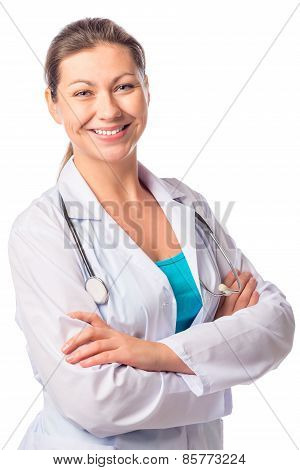 Happy Sure Of Himself Woman Doctor Isolated