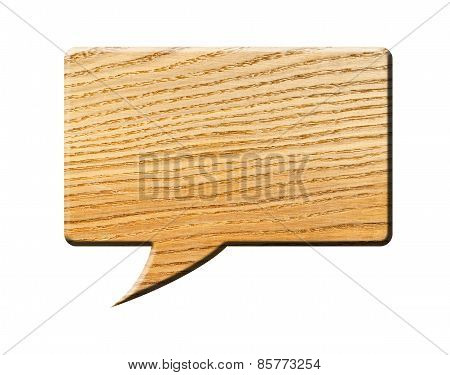 Wooden Speech Bubble, isolated